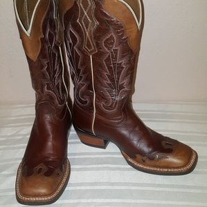 Ariat Caballera Square Toe Brown Western Boots